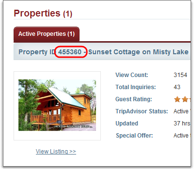 flipkey property id showing in detailed view