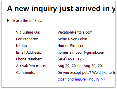 new inquiry email alert