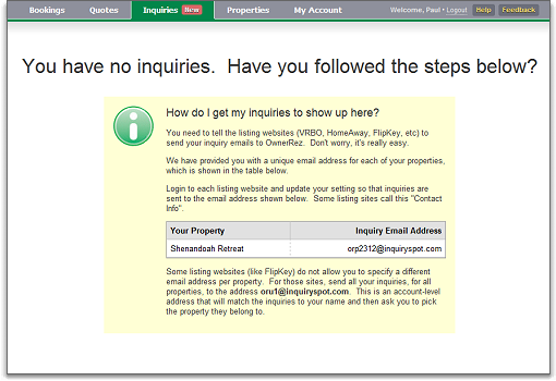 inquiry management overview page, empty with instructions