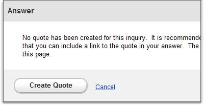 inquiry answer create quote
