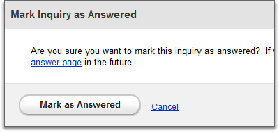 mark as answered on inquiries