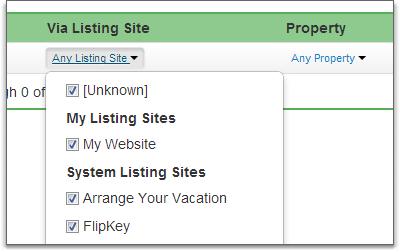 listing sites in filter bar list