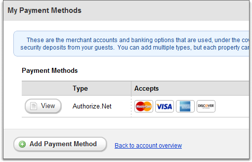 payment methods overview grid