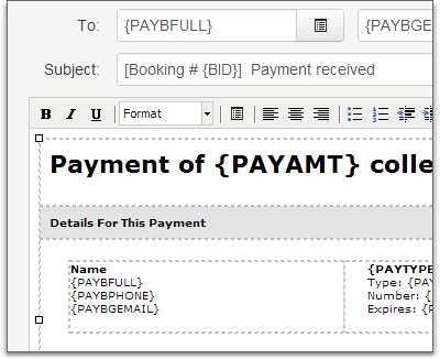 payment template use default in editor