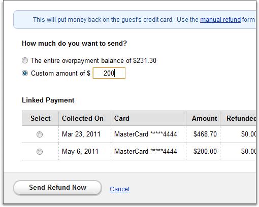 sending refund page
