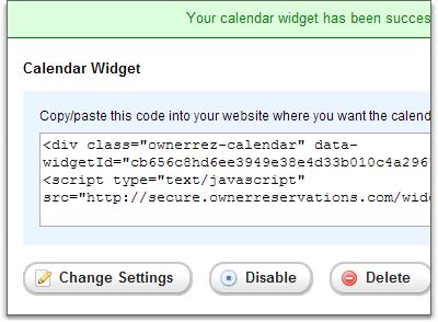 widgets calendar code