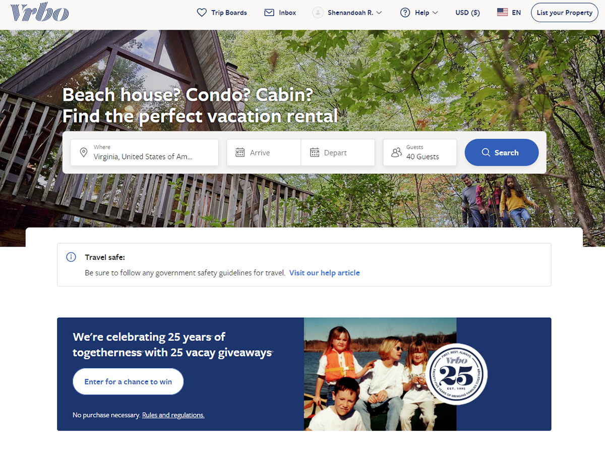 Vrbo homepage in the year 2020