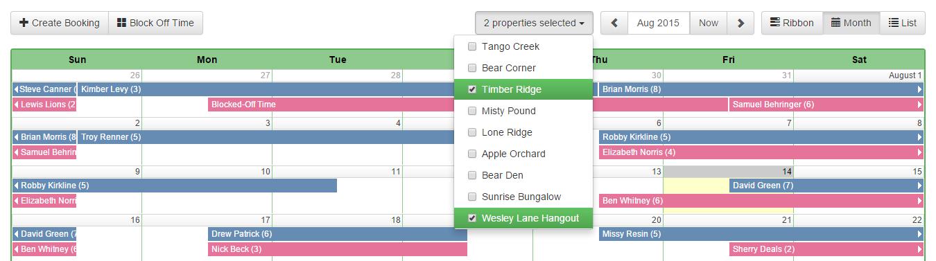 OwnerRez dashboard calendar